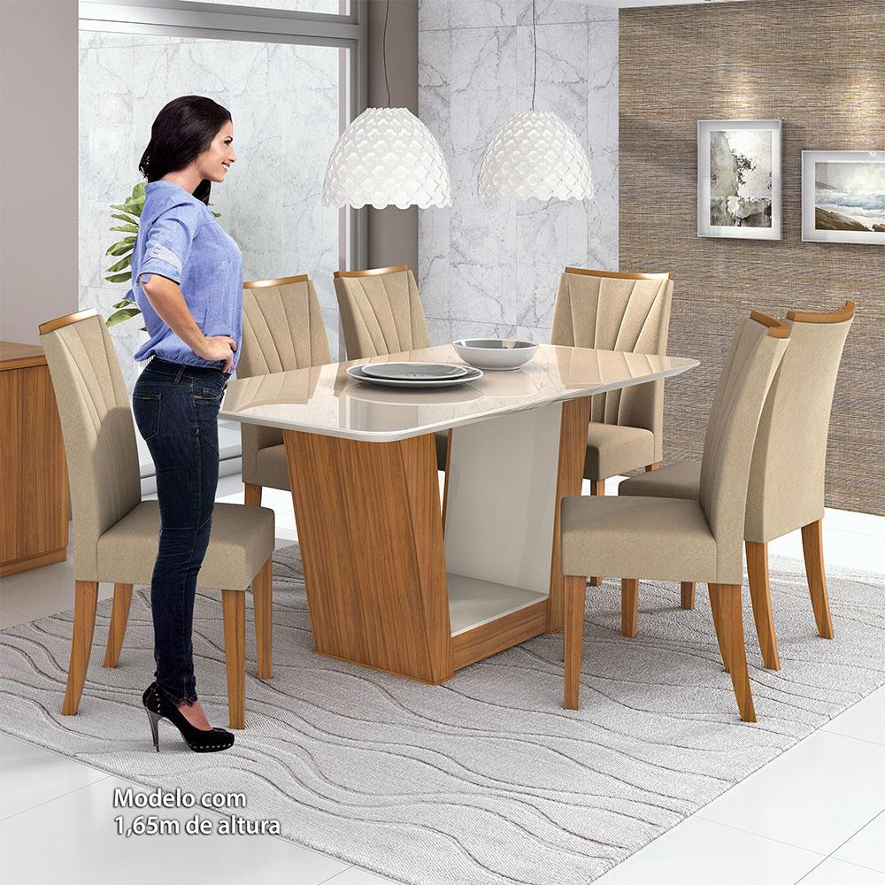 Conjunto Mesa Apogeu Plus 170 Tampo E Vidro Off White 6 Cadeiras Apogeu Rovere Naturale/Veludo Naturale Creme - Lopas