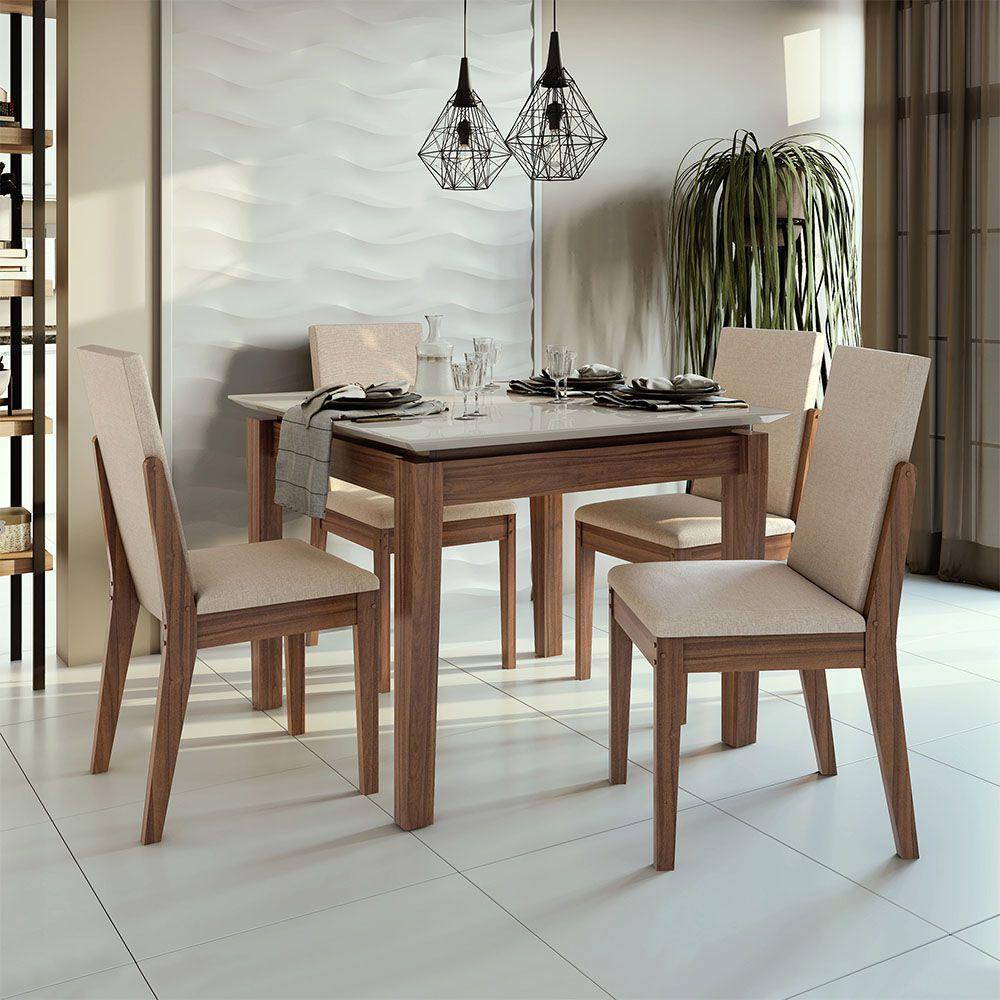 Conjunto Mesa Áries 100 Tampo E Vidro Off White 4 Cadeiras Lira Imbuia Naturale/Linho Rinzai Bege - Lopas