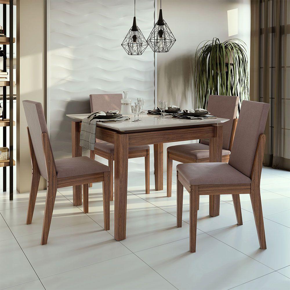 Conjunto Mesa Áries 100 Tampo E Vidro Off White 4 Cadeiras Lira Imbuia Naturale/Velvet Rosê - Lopas