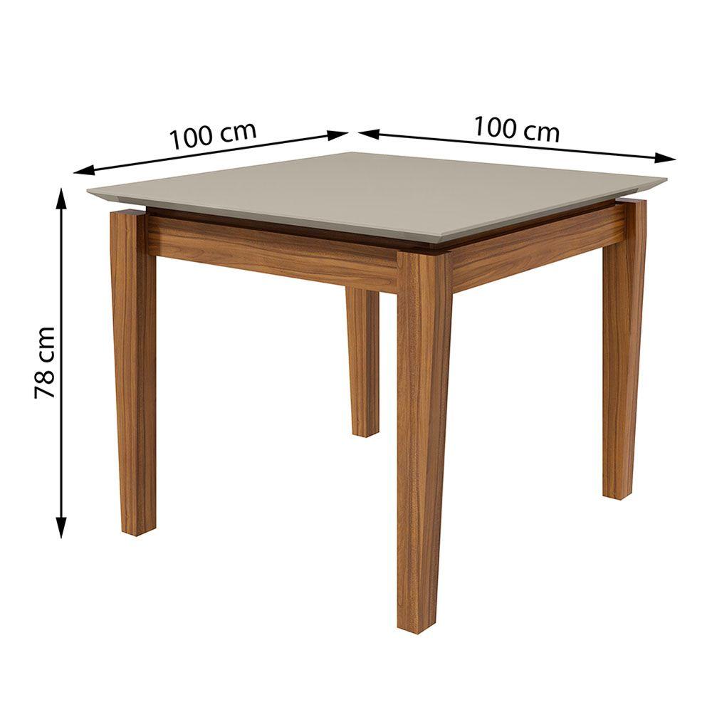 Conjunto Mesa Áries 100 Tampo E Vidro Off White 4 Cadeiras Lira Rovere Naturale/Linho Rinzai Bege - Lopas