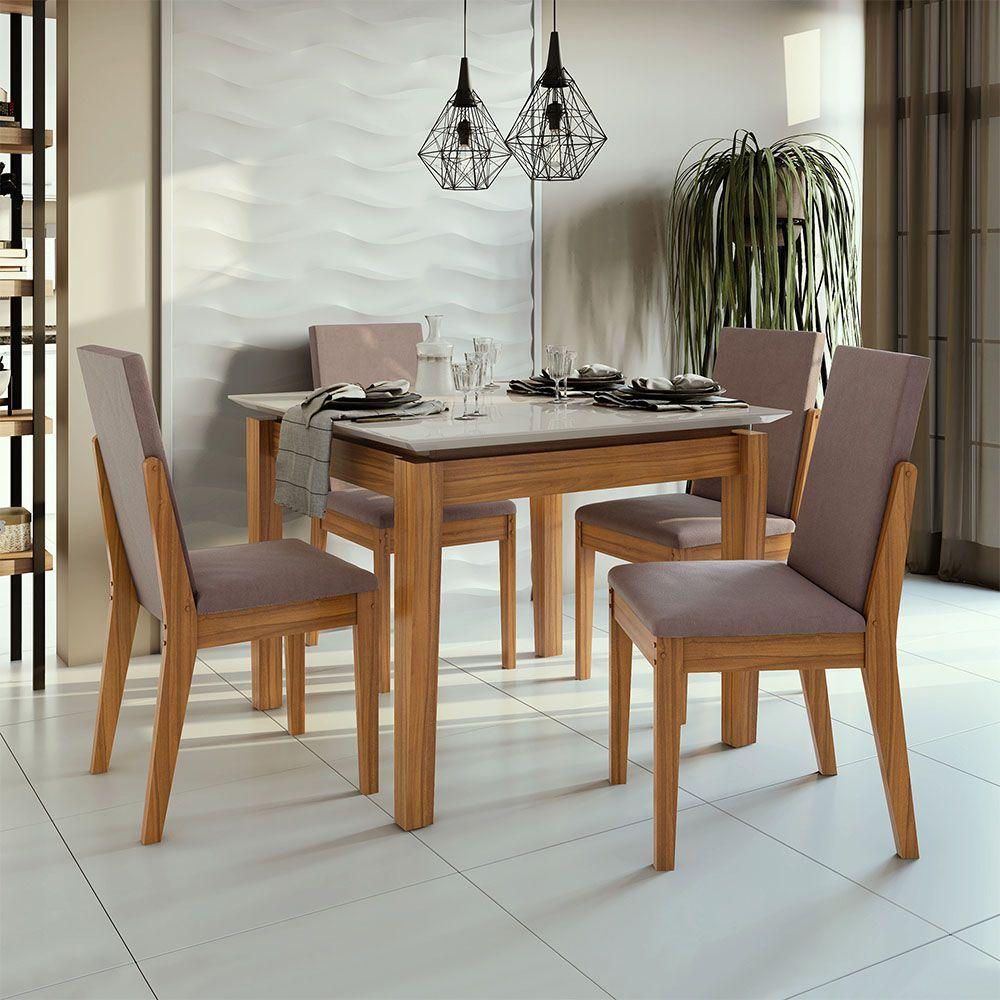 Conjunto Mesa Áries 100 Tampo E Vidro Off White 4 Cadeiras Lira Rovere Naturale/Velvet Rosê - Lopas