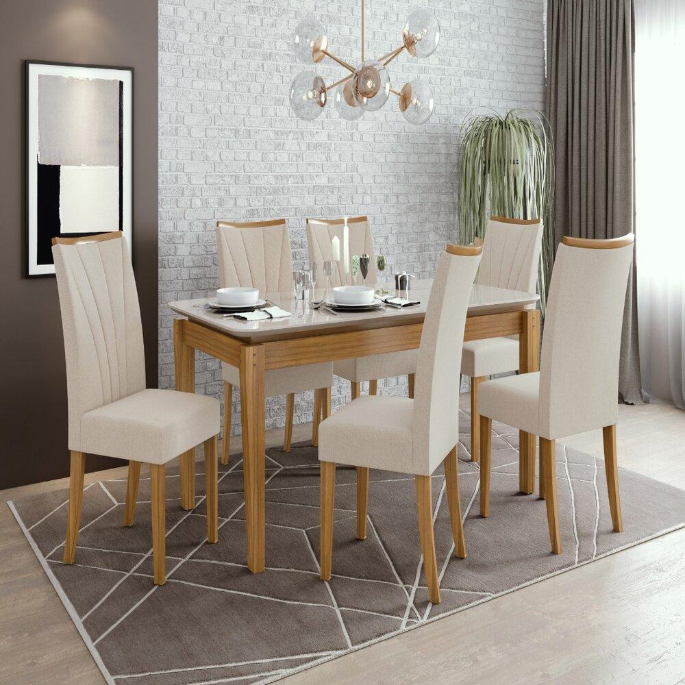 Conjunto Mesa Áries 180 Tampo E Vidro Off White 6 Cadeiras Apogeu Rovere Naturale/Linho Rinzai Bege - Lopas