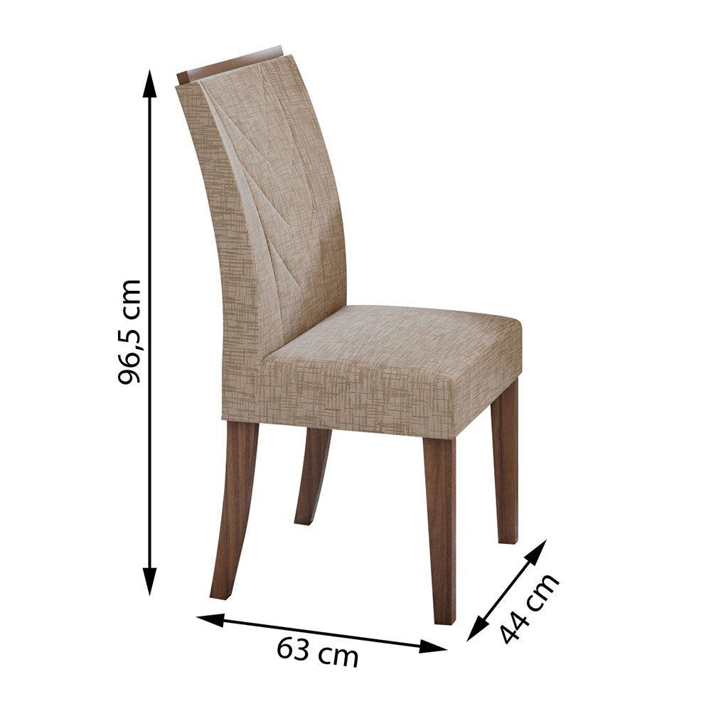 Conjunto Mesa Atacama 160 Tampo Vidro Off White 6 Cadeiras Atacama Off White/Imbuia Naturale/Velvet Riscado Bege - Lopas