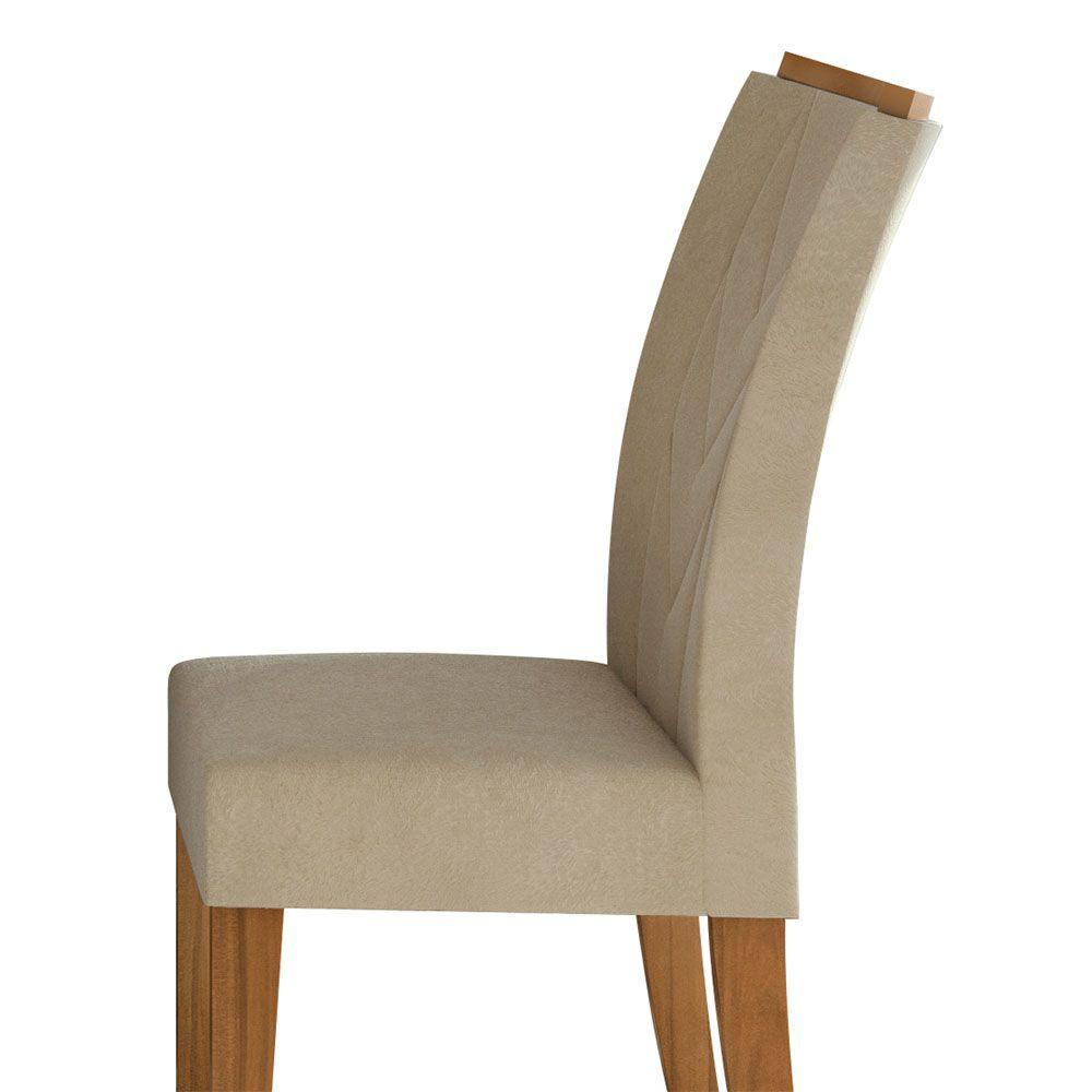 Conjunto Mesa Ballet 120 Tampo E Vidro Off White 4 Cadeiras Atacama Rovere Naturale/Veludo Naturale Creme - Lopas