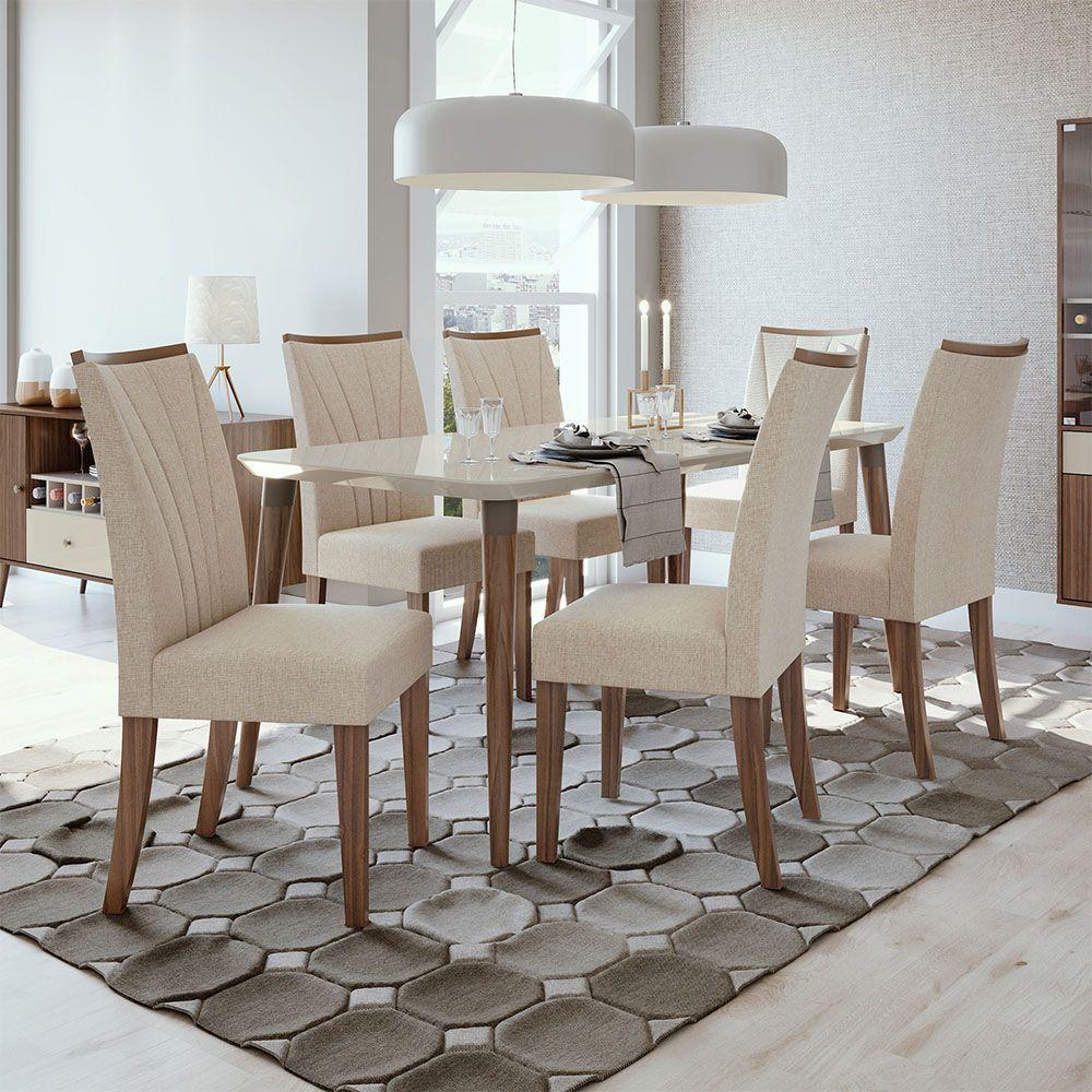 Conjunto Mesa Ballet 180 Tampo E Vidro Off White 6 Cadeiras Apogeu Imbuia Naturale/Linho Rinzai Bege - Lopas