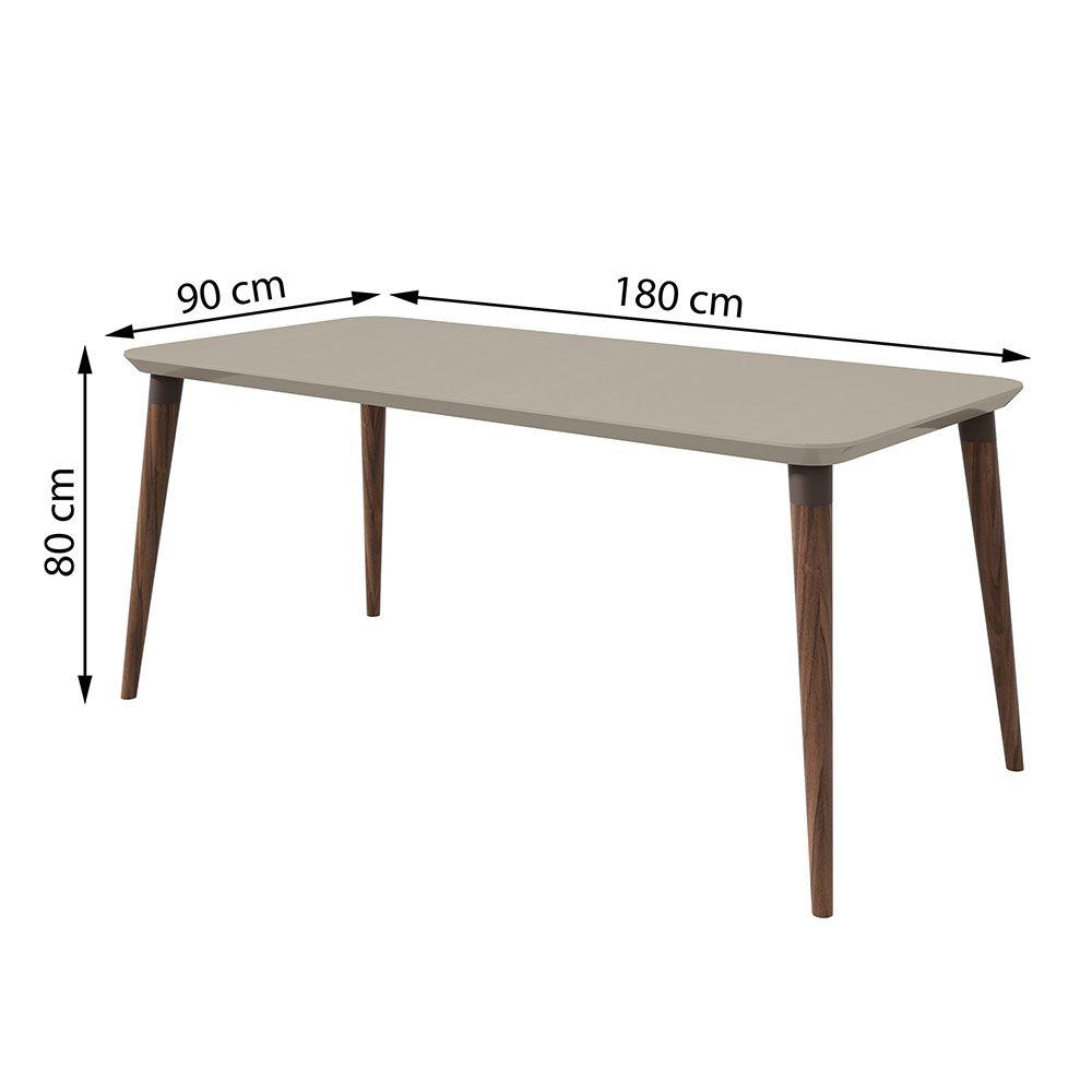Conjunto Mesa Ballet 180 Tampo E Vidro Off White 6 Cadeiras Apogeu Imbuia Naturale/Velvet Riscado Bege - Lopas