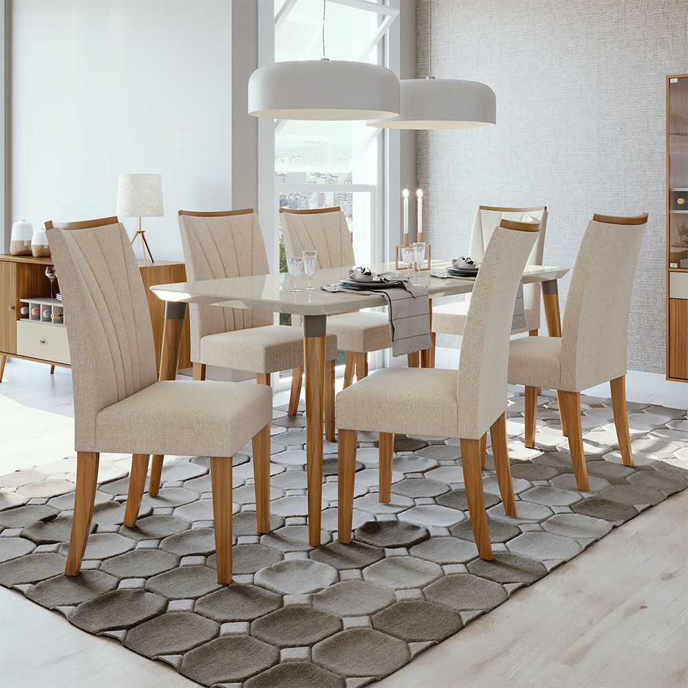 Conjunto Mesa Ballet 180 Tampo E Vidro Off White 6 Cadeiras Apogeu Rovere Naturale/Linho Rinzai Bege - Lopas