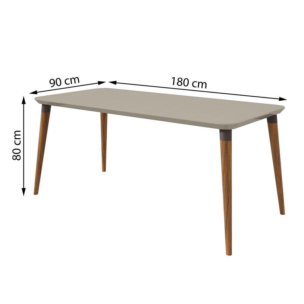 Conjunto Mesa Ballet 180 Tampo E Vidro Off White 6 Cadeiras Apogeu Rovere Naturale/Velvet Riscado Bege - Lopas