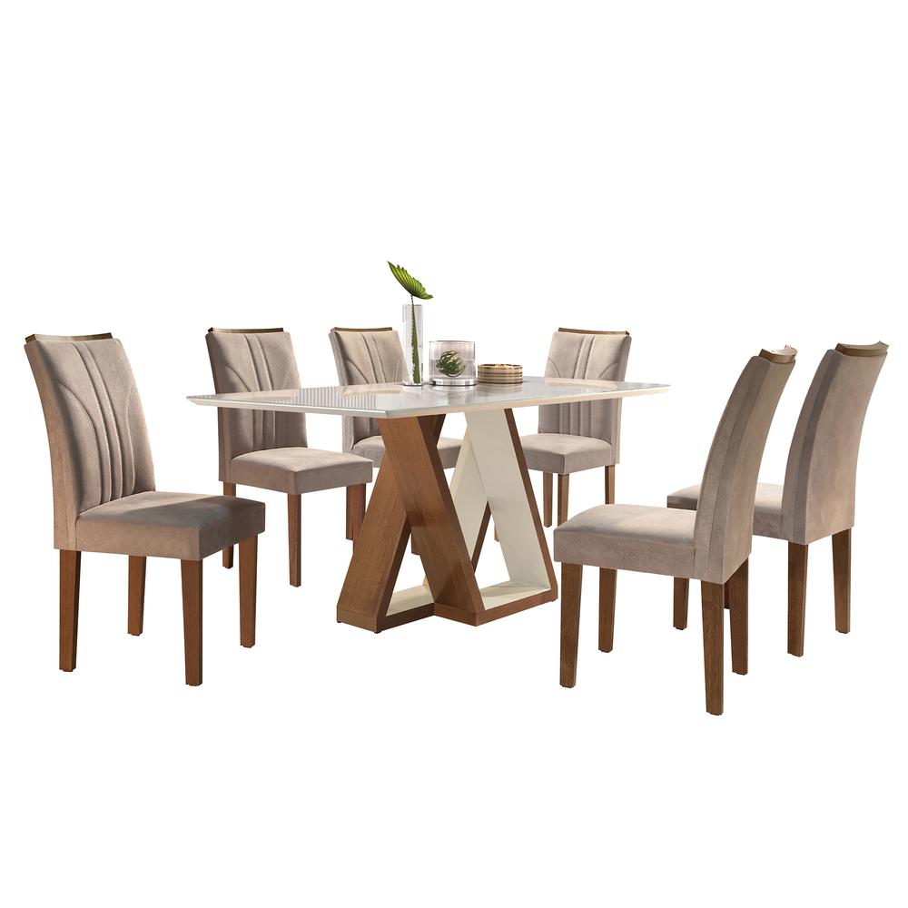 Conjunto Mesa Belle Tampo Slim Vidro Off White Plus 6 Cadeiras Belle - Chocolate/Off White/Suede Pena - Cel Móveis