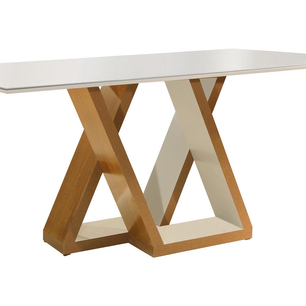 Conjunto Mesa Belle Tampo Slim Vidro Off White Plus 6 Cadeiras Belle - Ype/Off White/Suede Pena - Cel Móveis