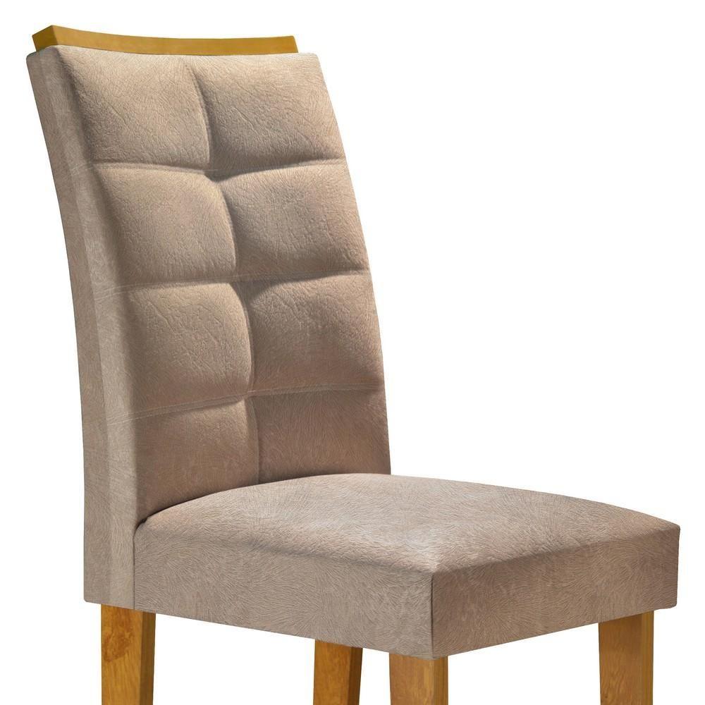 Conjunto Mesa Canyon Tampo Slim Vidro Off White Plus 6 Cadeiras Villa Rica - Ype/Suede Pena - Cel Móveis