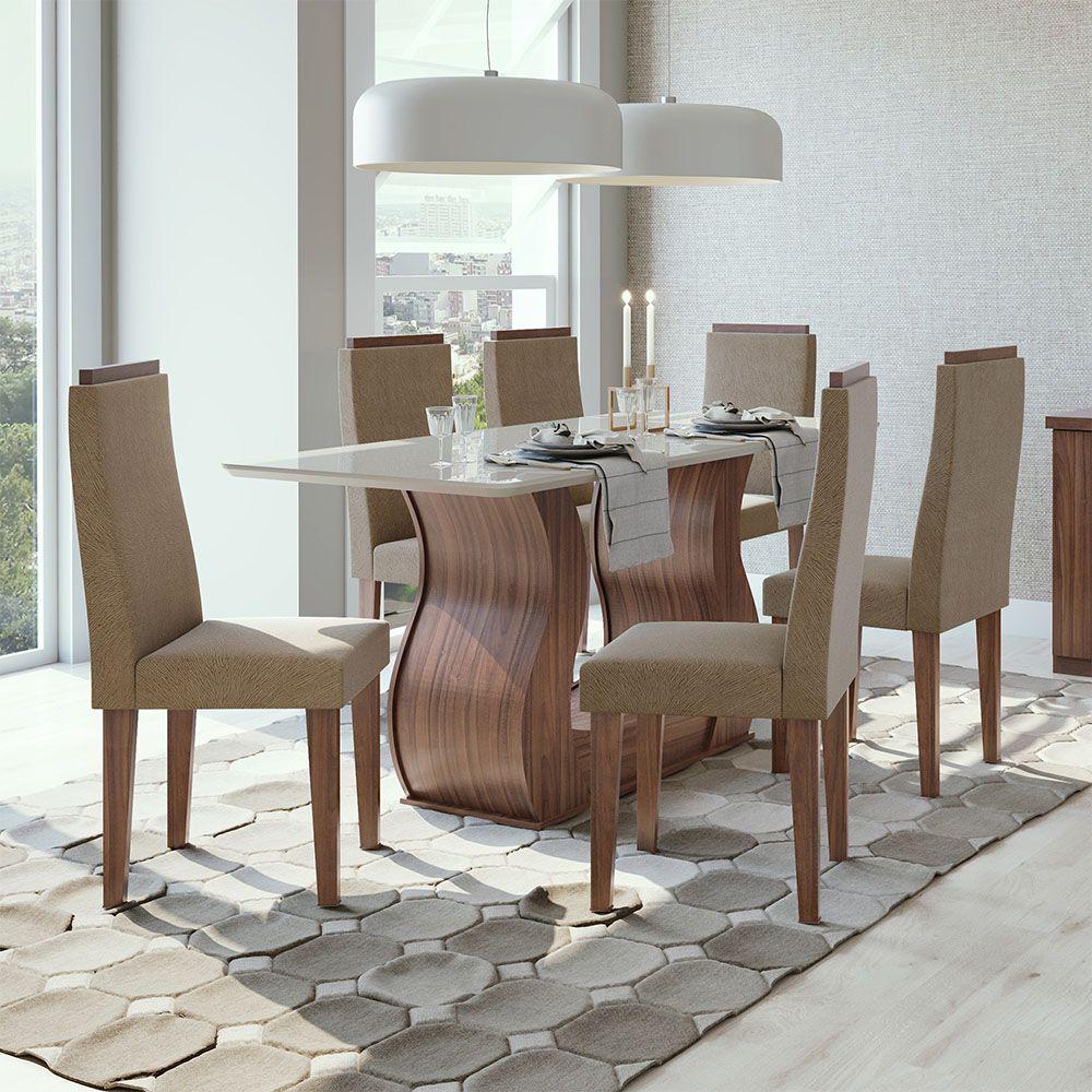 Conjunto Mesa Dafne Plus 160 Tampo E Vidro Off White 6 Cadeiras Dafne Imbuia Naturale/Suede Animale Bege - Lopas