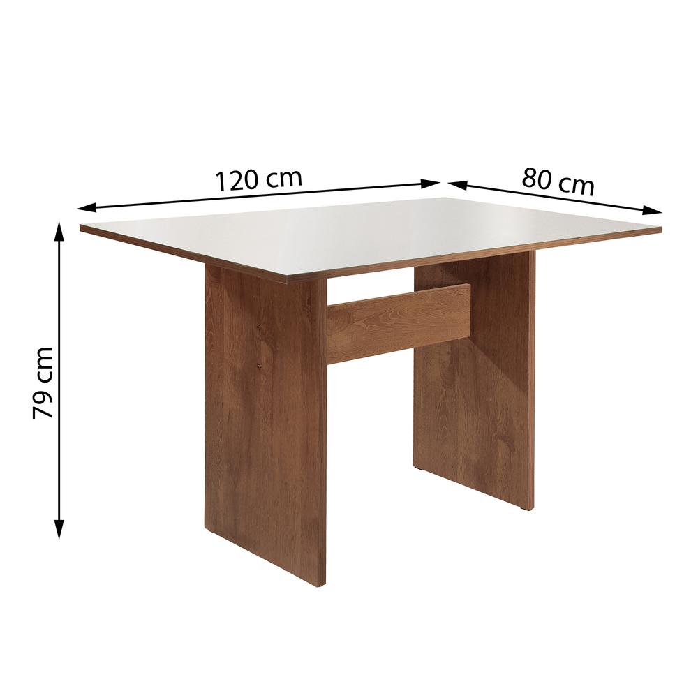 Conjunto Mesa Dakota 1,20X0,80 Flex Vidro Off White 4 Cadeiras Rubi - Chocolate/Suede Pena - Cel Móveis
