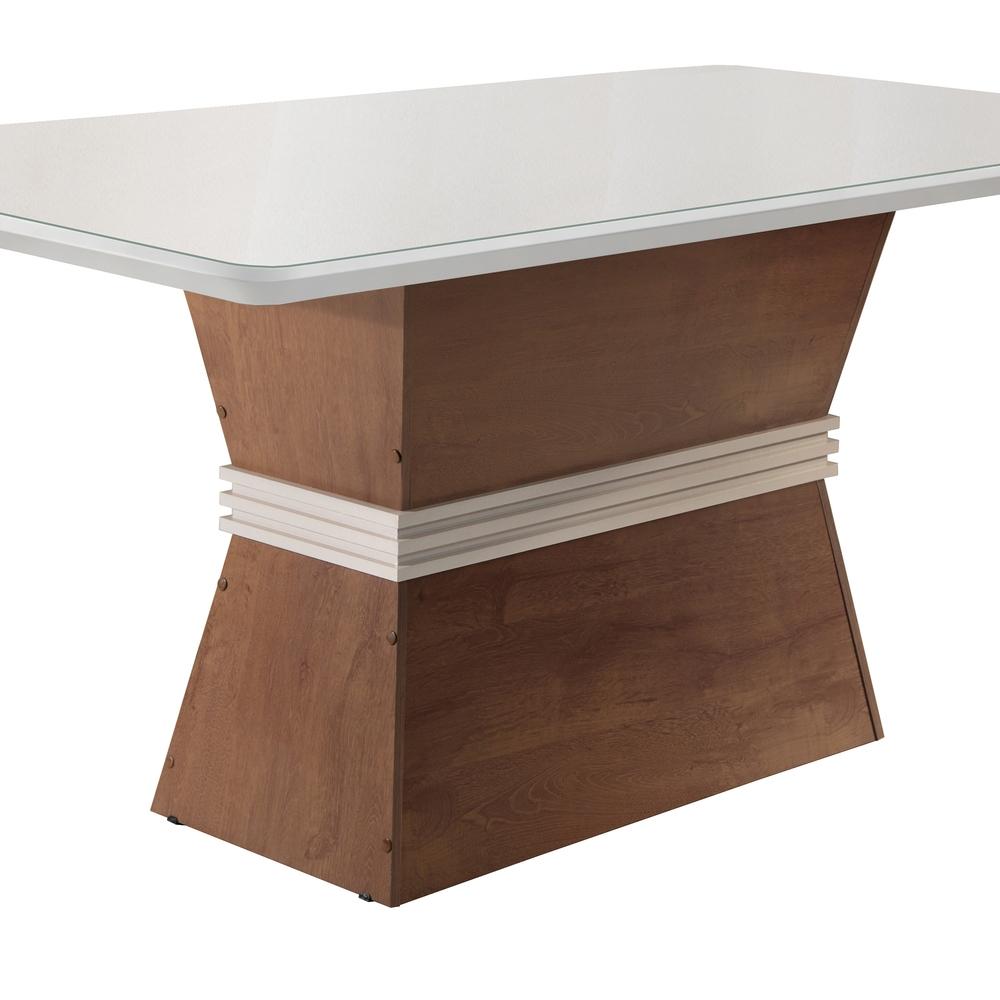 Conjunto Mesa Jade Tampo Smart Vidro Off Plus 6 Cadeiras Villa Rica - Chocolate/Off White/Suede Pena - Cel Móveis