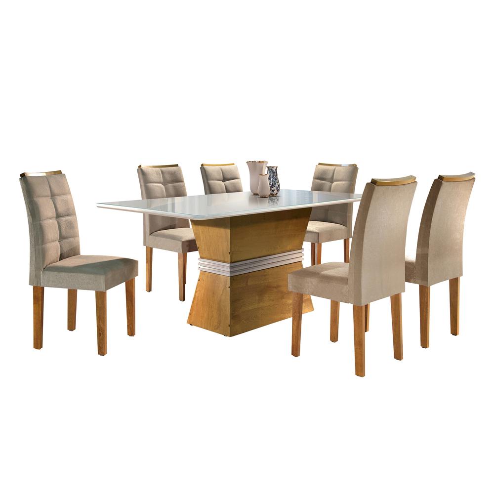 Conjunto Mesa Jade Tampo Smart Vidro Off Plus 6 Cadeiras Villa Rica - Ype/Off White/Suede Pena - Cel Móveis