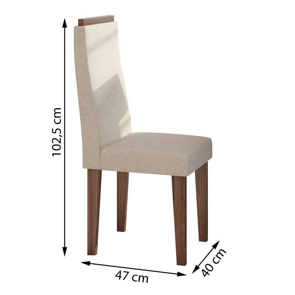 Conjunto Mesa Nevada Plus 100 Tampo E Vidro Off White 4 Cadeiras Dafne Imbuia Naturale/Linho Rinzai Bege - Lopas