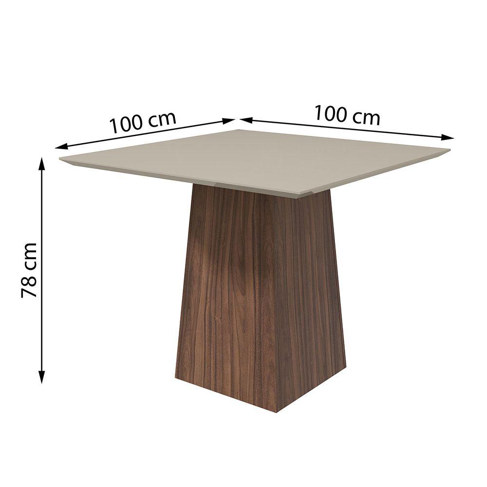 Conjunto Mesa Nevada Plus 100 Tampo E Vidro Off White 4 Cadeiras Dafne Imbuia Naturale/Suede Animale Bege - Lopas