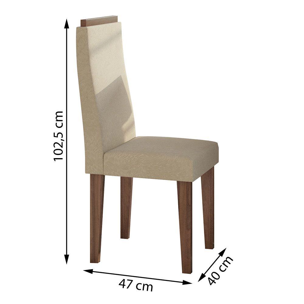 Conjunto Mesa Nevada Plus 100 Tampo E Vidro Off White 4 Cadeiras Dafne Imbuia Naturale/Veludo Naturale Creme - Lopas