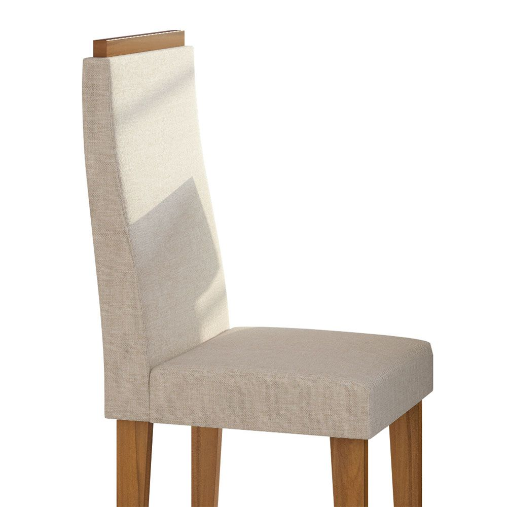 Conjunto Mesa Nevada Plus 100 Tampo E Vidro Off White 4 Cadeiras Dafne Rovere Naturale/Linho Rinzai Bege - Lopas