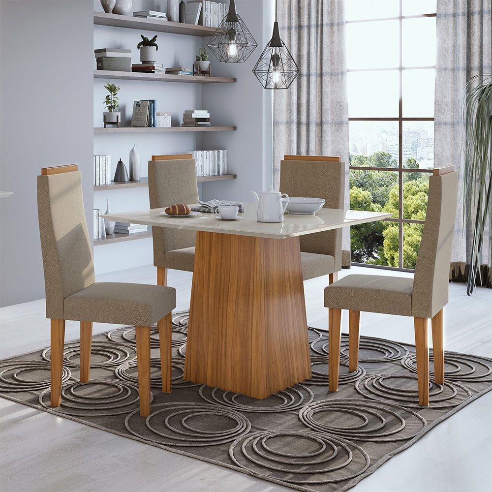 Conjunto Mesa Nevada Plus 100 Tampo E Vidro Off White 4 Cadeiras Dafne Rovere Naturale/Suede Animale Bege - Lopas