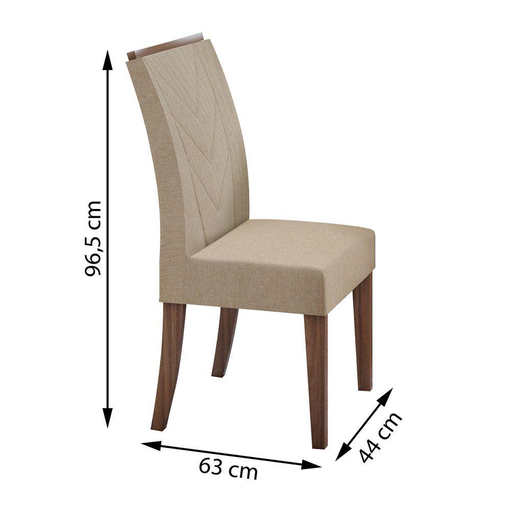 Conjunto Mesa Nevada Plus 130 Tampo E Vidro Off White 8 Cadeiras Atacama Imbuia Naturale/Linho Rinzai Bege - Lopas