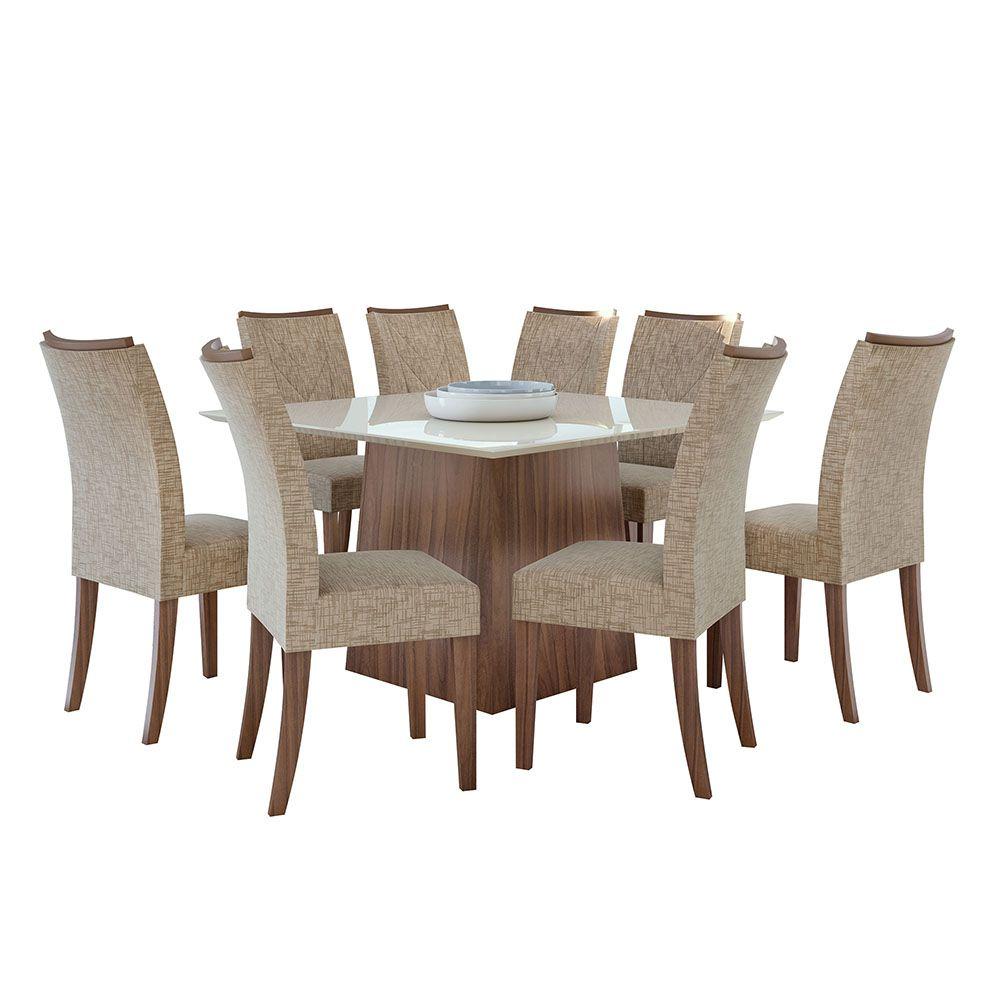 Conjunto Mesa Nevada Plus 130 Tampo E Vidro Off White 8 Cadeiras Atacama Imbuia Naturale/Velvet Riscado Bege - Lopas