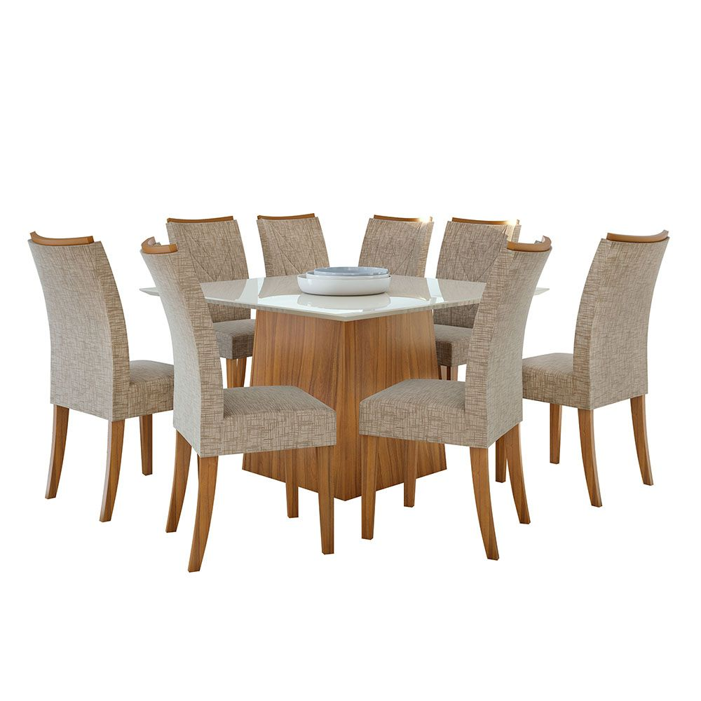 Conjunto Mesa Nevada Plus 130 Tampo E Vidro Off White 8 Cadeiras Atacama Rovere Naturale/Velvet Riscado Bege - Lopas
