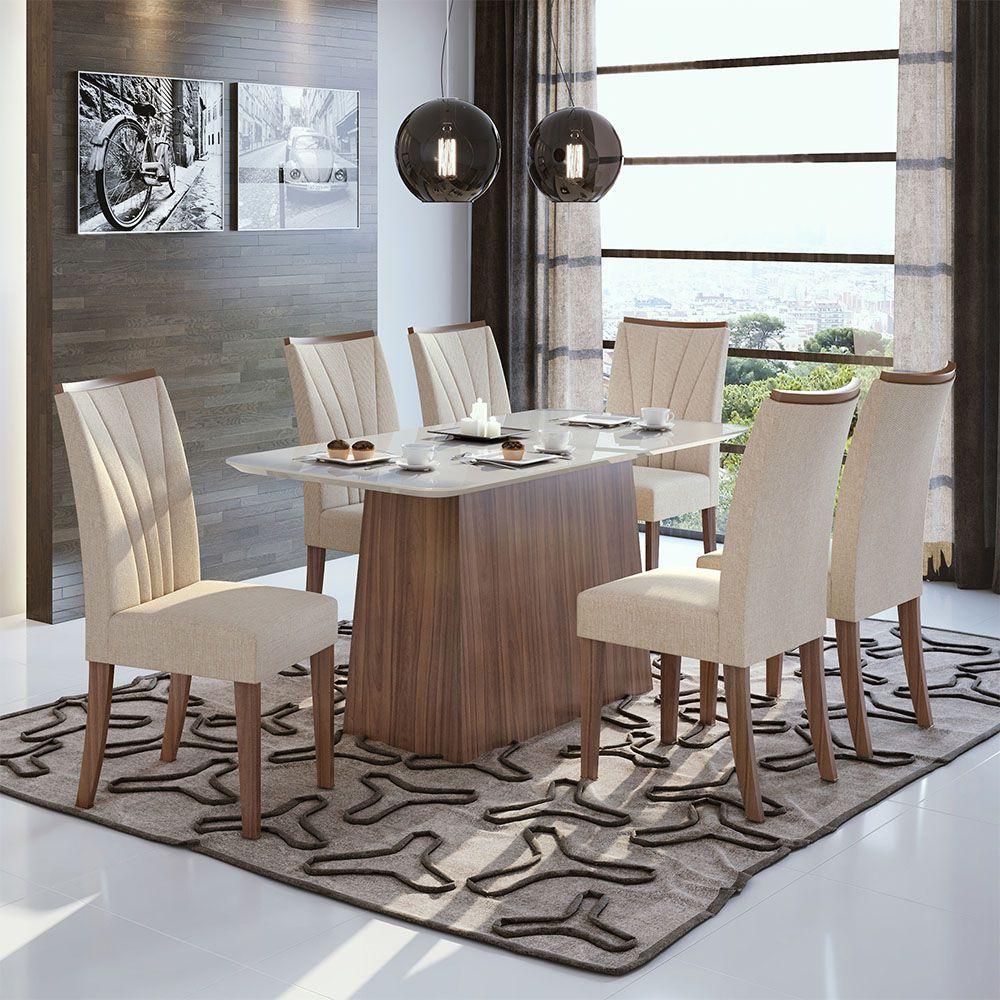 Conjunto Mesa Nevada Plus 170 Tampo E Vidro Off White 6 Cadeiras Apogeu Imbuia Naturale/Linho Rinzai Bege - Lopas