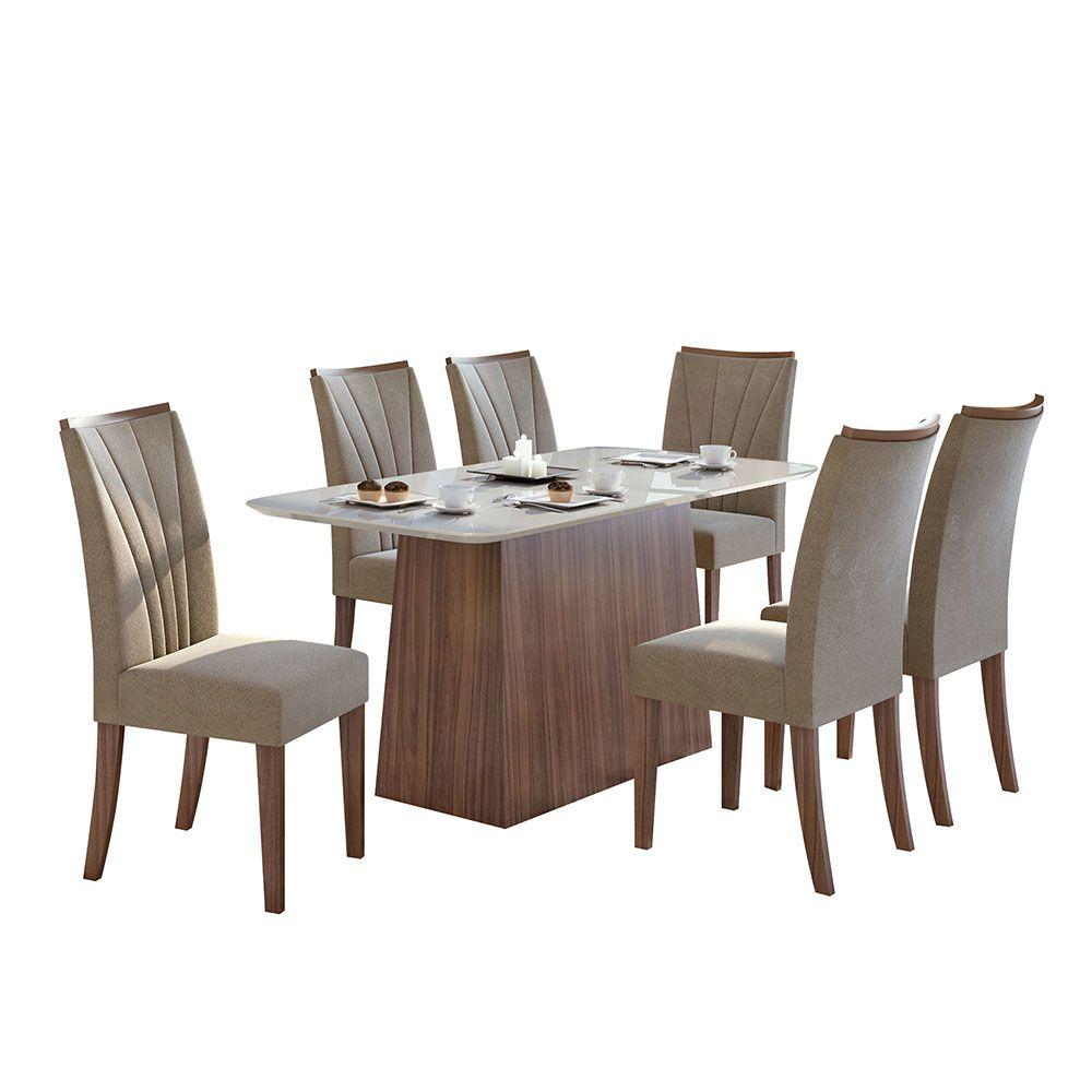 Conjunto Mesa Nevada Plus 170 Tampo E Vidro Off White 6 Cadeiras Apogeu Imbuia Naturale/Suede Animale Bege - Lopas