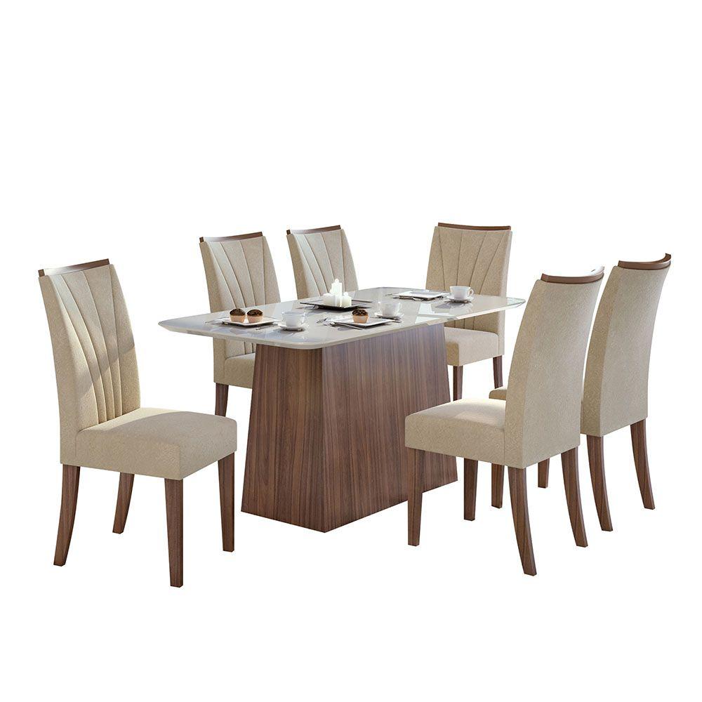 Conjunto Mesa Nevada Plus 170 Tampo E Vidro Off White 6 Cadeiras Apogeu Imbuia Naturale/Veludo Naturale Creme - Lopas