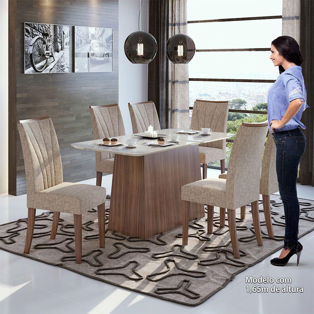 Conjunto Mesa Nevada Plus 170 Tampo E Vidro Off White 6 Cadeiras Apogeu Imbuia Naturale/Velvet Riscado Bege - Lopas