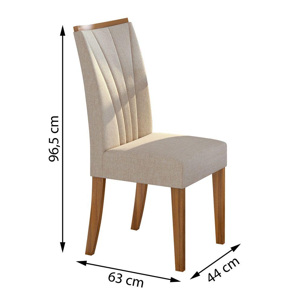 Conjunto Mesa Nevada Plus 170 Tampo E Vidro Off White 6 Cadeiras Apogeu Rovere Naturale/Linho Rinzai Bege - Lopas