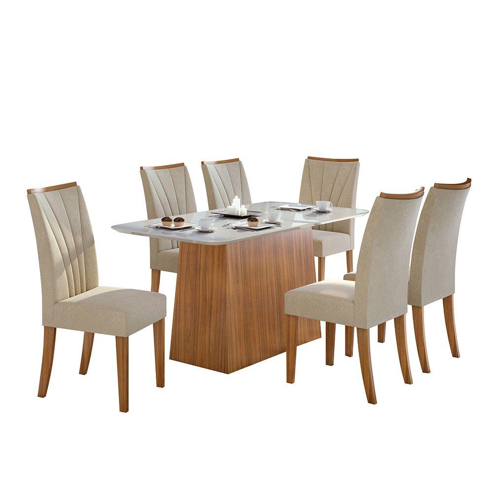 Conjunto Mesa Nevada Plus 170 Tampo E Vidro Off White 6 Cadeiras Apogeu Rovere Naturale/Veludo Naturale Creme - Lopas