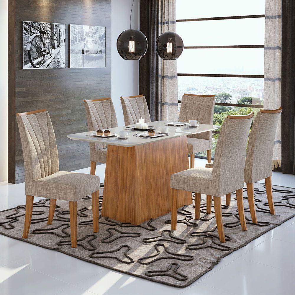 Conjunto Mesa Nevada Plus 170 Tampo E Vidro Off White 6 Cadeiras Apogeu Rovere Naturale/Velvet Riscado Bege - Lopas