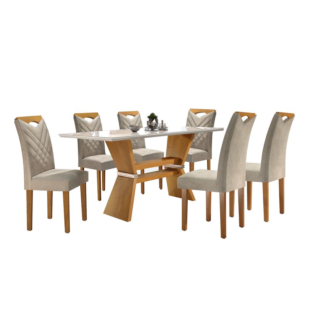 Conjunto Mesa Oxford Tampo Slim Vidro Off White  Plus 1,70 X 0,90 c/ 6 Cadeiras Oxford - Ype/Off White - Cel Móveis