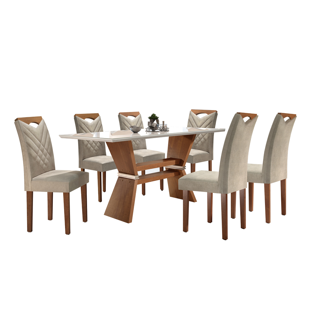 Conjunto Mesa Oxford Tampo Slim Vidro Off White Plus 6 Cadeiras Oxford - Chocolate/Off White - Cel Móveis