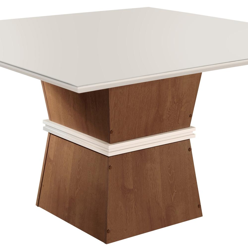 Conjunto Mesa Riviera Tampo Slim Vidro Off White Plus 8 Cadeiras Riviera - Chocolate/Off White - Cel Móveis
