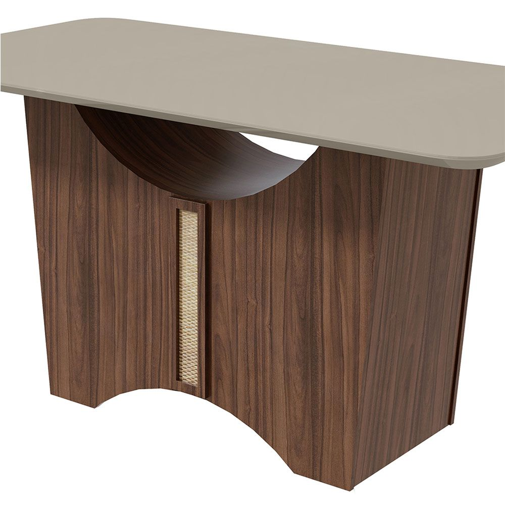 Conjunto Mesa Rock Plus 170 Tampo E Vidro Off White 6 Cadeiras Apogeu Imbuia Naturale/Linho Rinzai Bege - Lopas