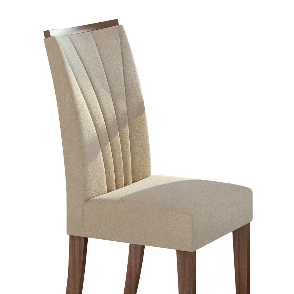 Conjunto Mesa Rock Plus 170 Tampo E Vidro Off White 6 Cadeiras Apogeu Imbuia Naturale/Veludo Naturale Creme - Lopas