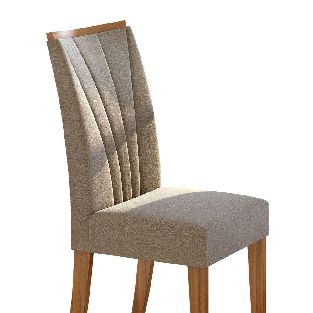 Conjunto Mesa Rock Plus 170 Tampo E Vidro Off White 6 Cadeiras Apogeu Rovere Naturale/Suede Animale Bege - Lopas