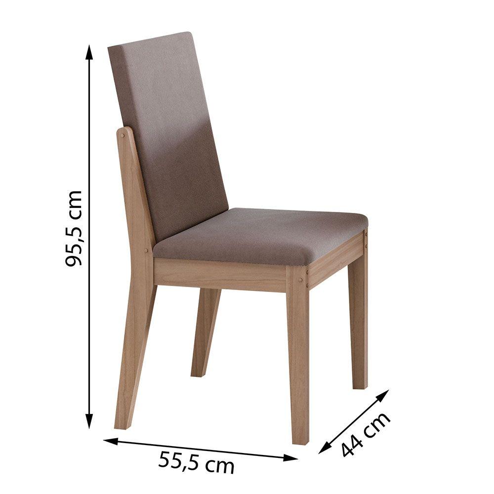 Conjunto Mesa Saara 120 Tampo E Vidro Off White 4 Cadeiras Lira Carvalho Naturale/Velvet Rosê - Lopas