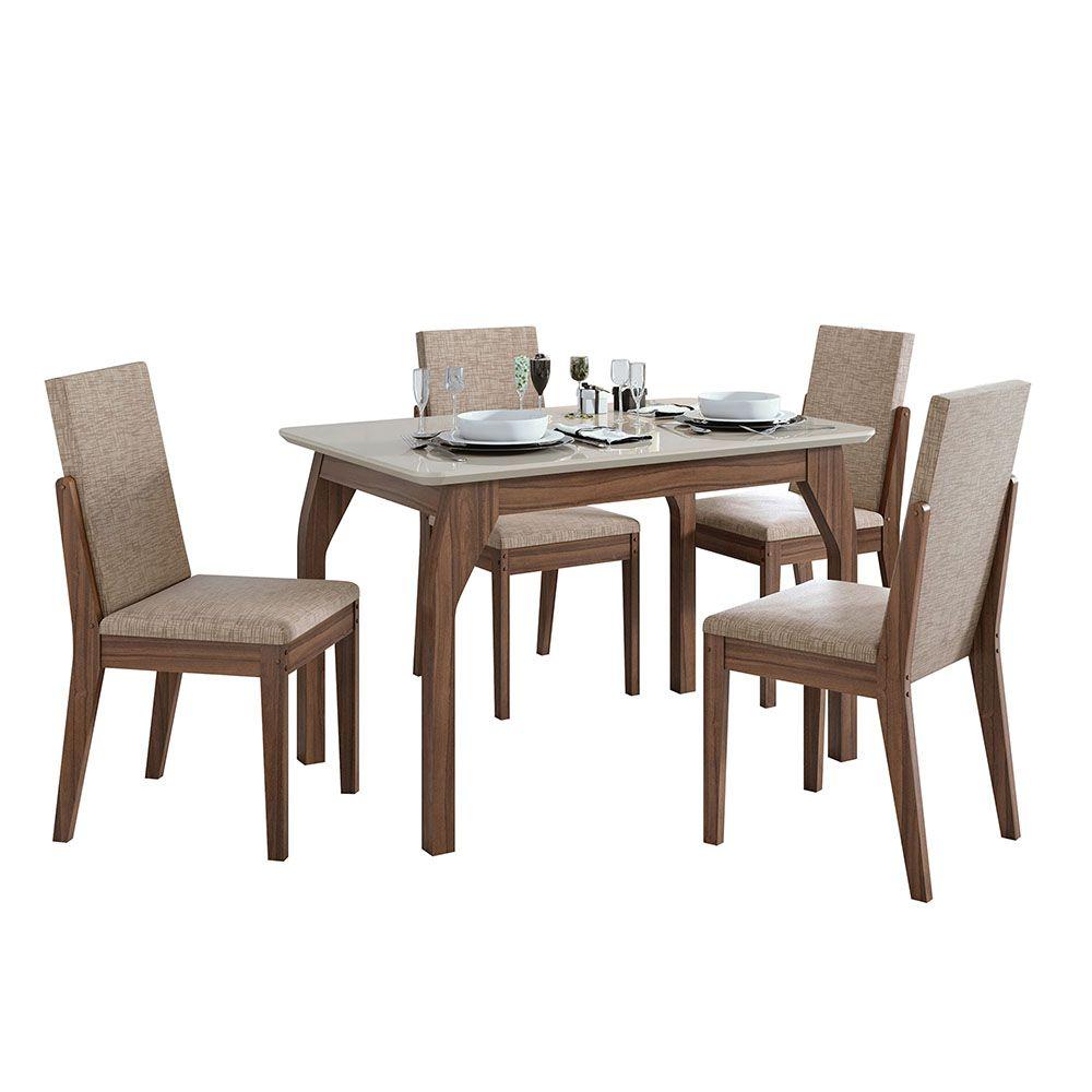 Conjunto Mesa Saara 120 Tampo E Vidro Off White 4 Cadeiras Lira Imbuia Naturale/Velvet Riscado Bege - Lopas