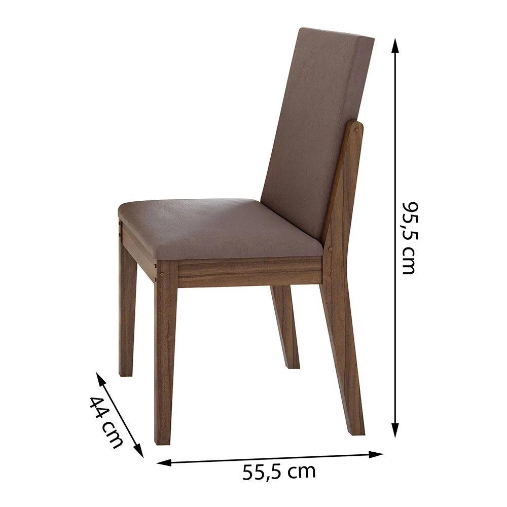 Conjunto Mesa Saara 120 Tampo E Vidro Off White 4 Cadeiras Lira Imbuia Naturale/Velvet Rosê - Lopas