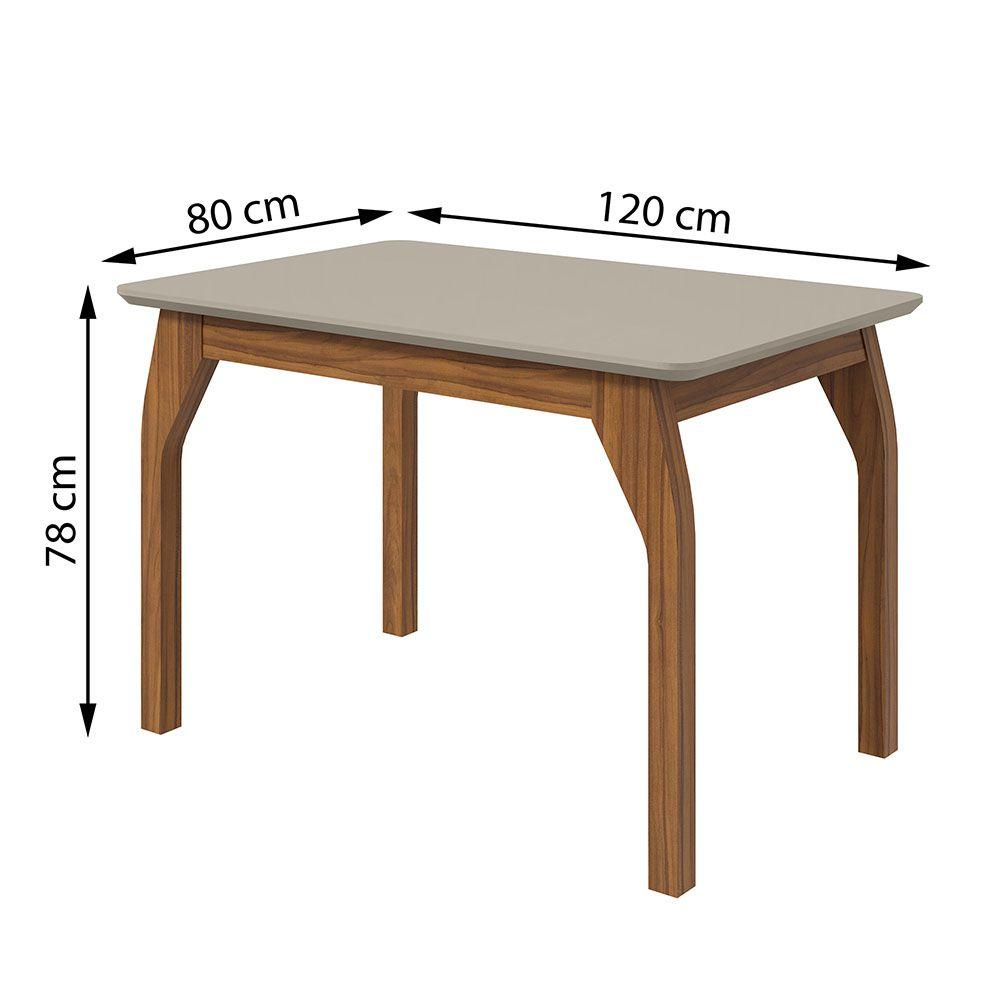 Conjunto Mesa Saara 120 Tampo E Vidro Off White 4 Cadeiras Lira Rovere Naturale/Velvet Riscado Bege - Lopas