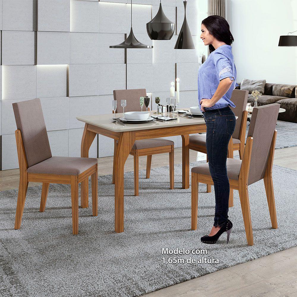Conjunto Mesa Saara 120 Tampo E Vidro Off White 4 Cadeiras Lira Rovere Naturale/Velvet Rosê - Lopas