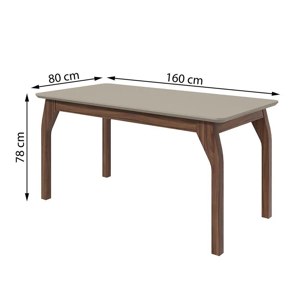 Conjunto Mesa Saara 160 Tampo E Vidro Off White 6 Cadeiras Lira Imbuia Naturale/Linho Rizai Bege - Lopas