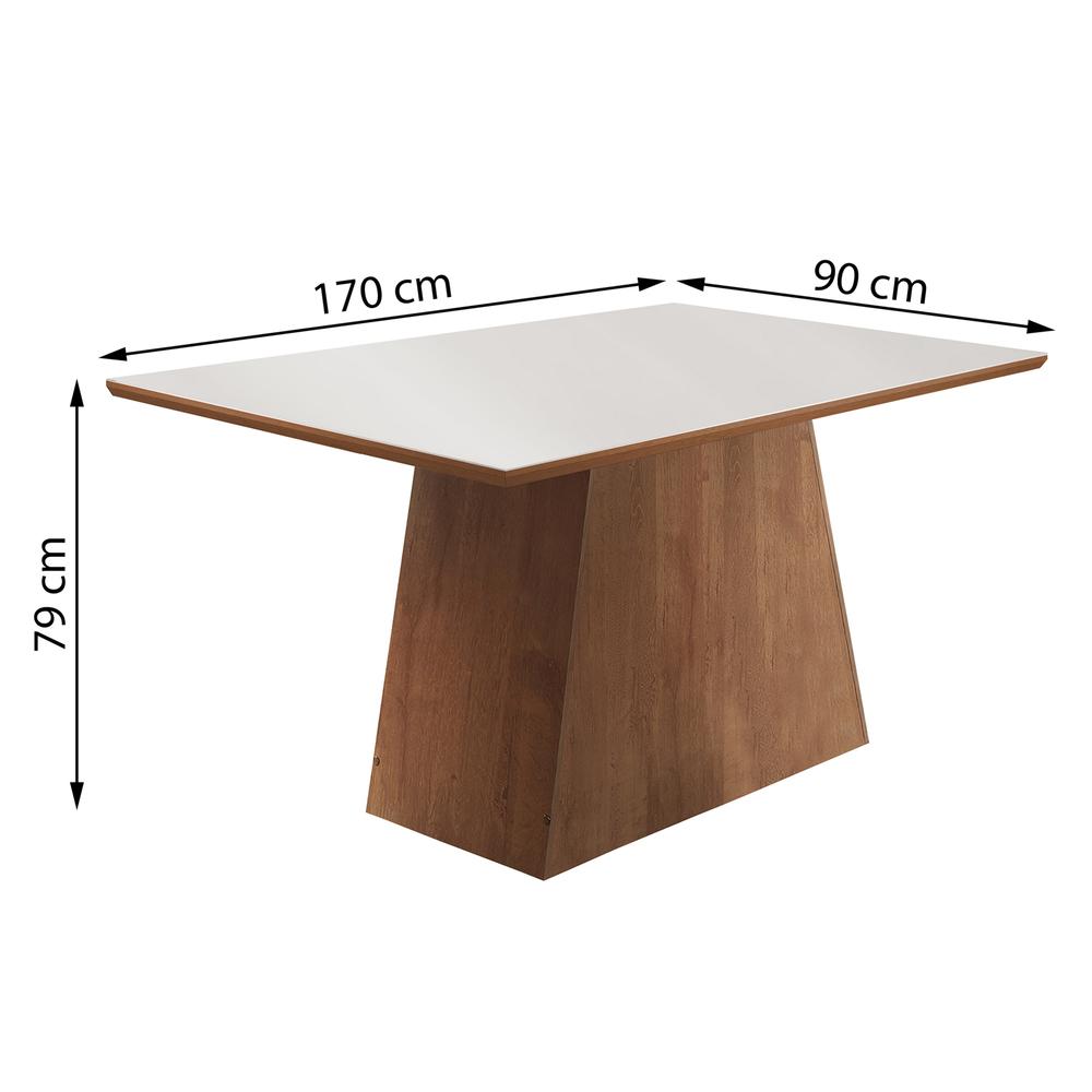 Conjunto Mesa Sevilha Tampo Slim Vidro Off White 6 Cadeiras Sevilha - Chocolate - Cel Móveis