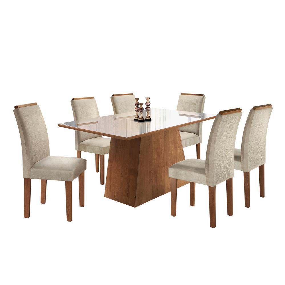 Conjunto Mesa Sevilha Tampo Slim Vidro Off White 6 Cadeiras Sevilha - Chocolate/Jacar - Cel Móveis