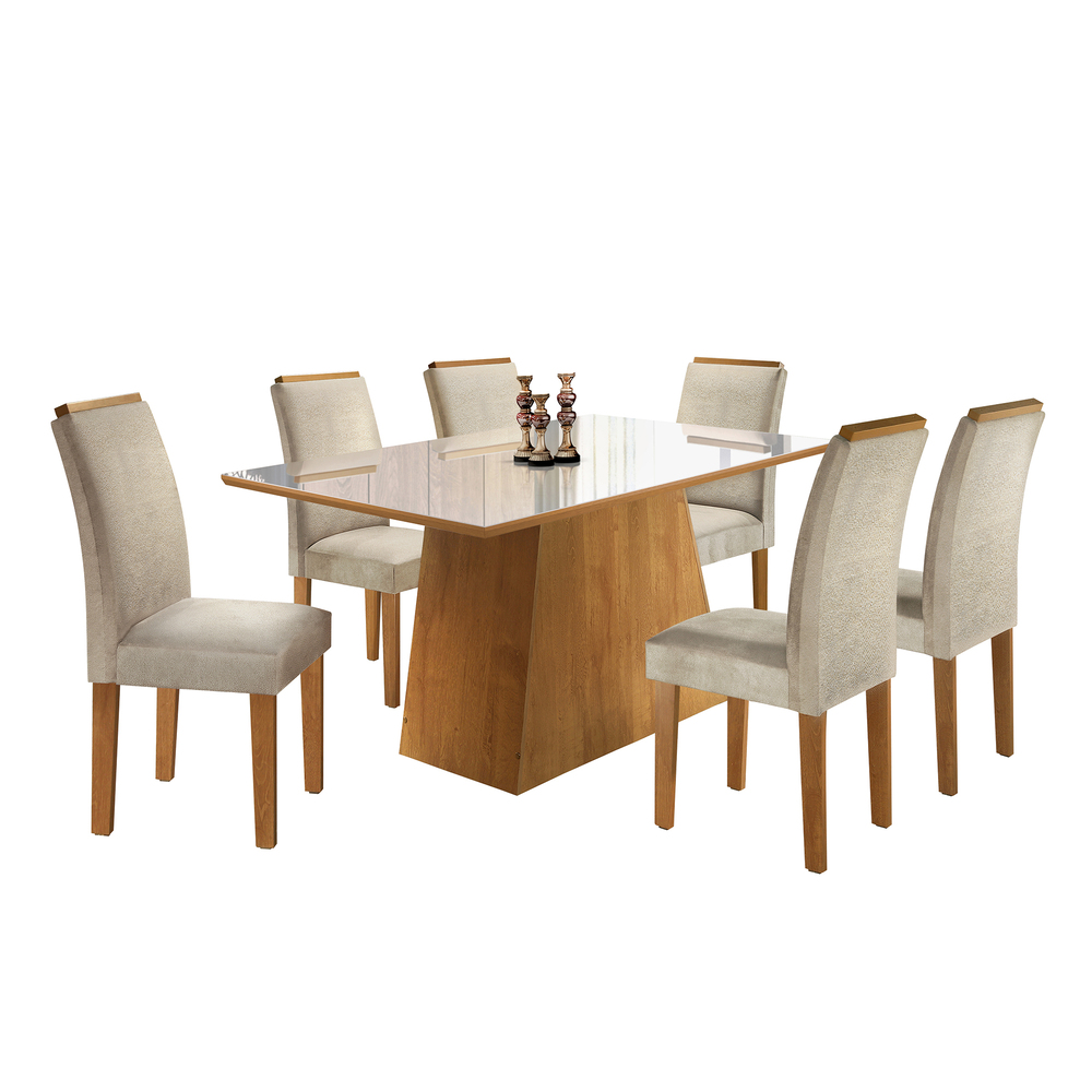 Conjunto Mesa Sevilha Tampo Slim Vidro Off White 6 Cadeiras Sevilha - Ype/Jacar - Cel Móveis