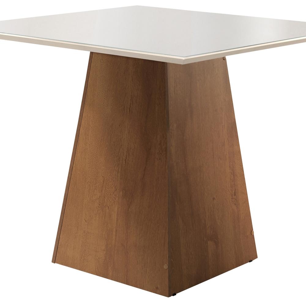 Conjunto Mesa Sevilha Tampo Slim Vidro Off White Plus 4 Cadeiras Sevilha - Chocolate  - Cel Móveis